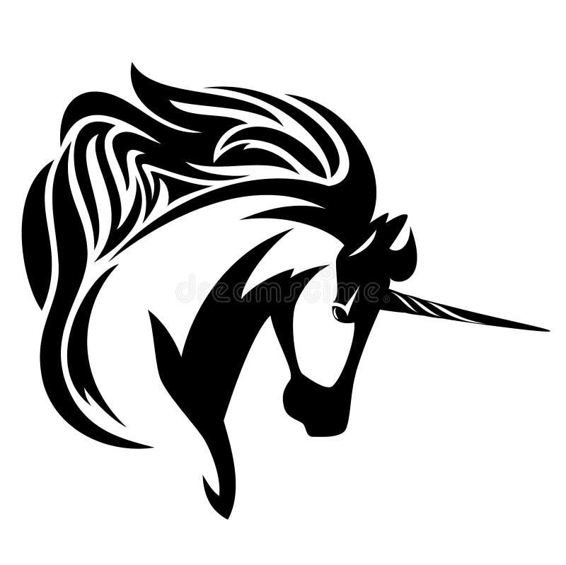 Vetor do perfil da cabeça de cavalo do unicórnio ilustração stock