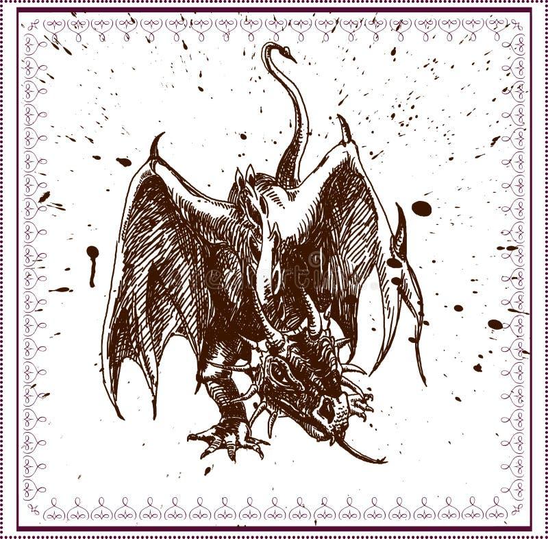 Vetor do pesadelo - dragão 2 ilustração royalty free