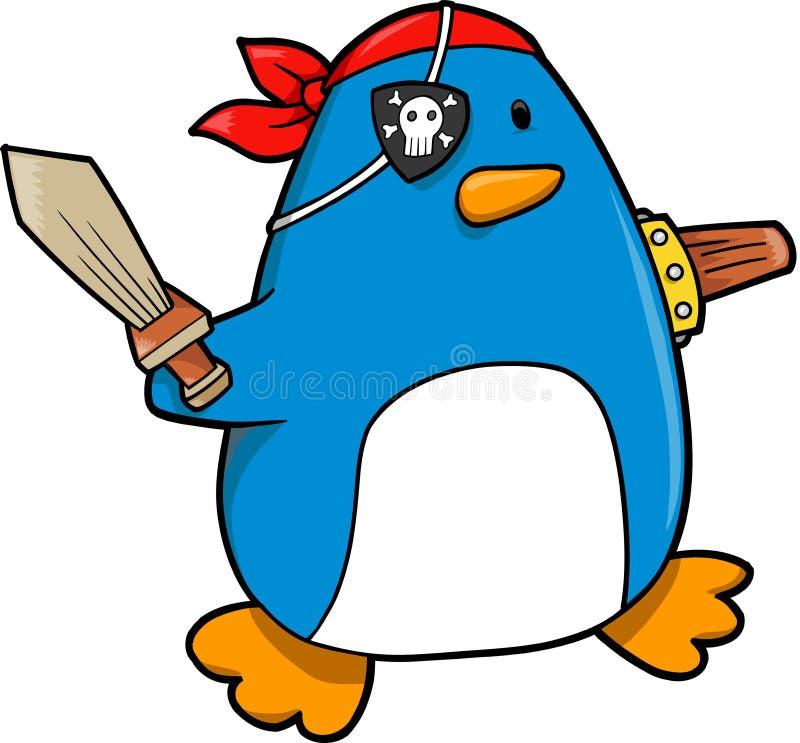 Vetor do pinguim do pirata ilustração do vetor