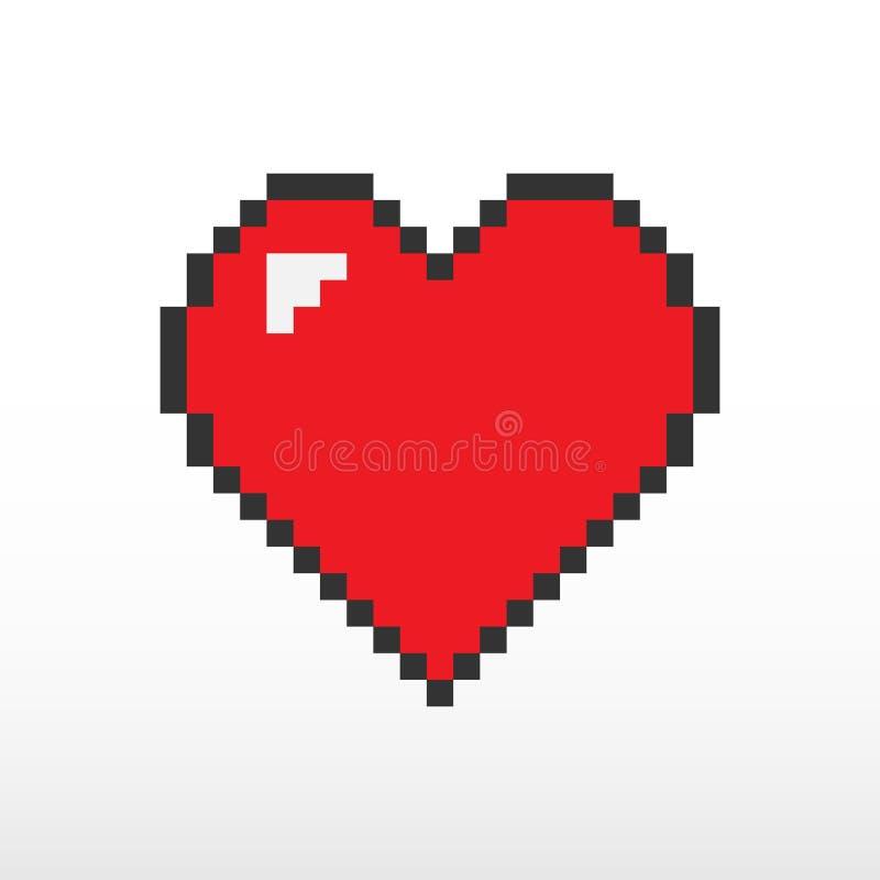Vetor do pixel do coração ilustração royalty free
