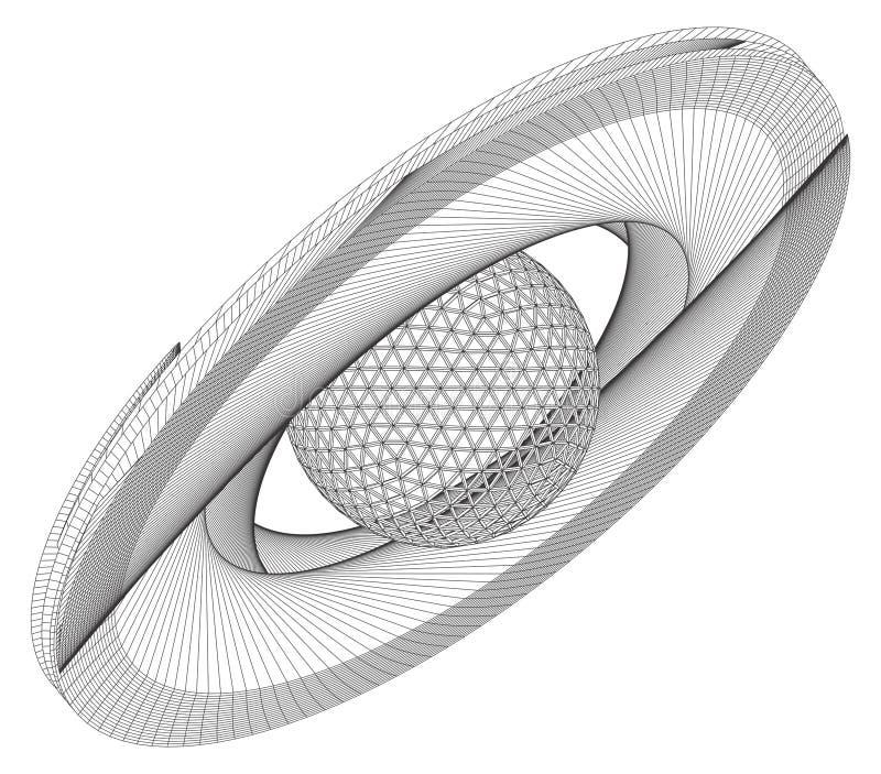 Vetor do planeta da superfície do quadro do fio do sumário de Saturn ilustração royalty free