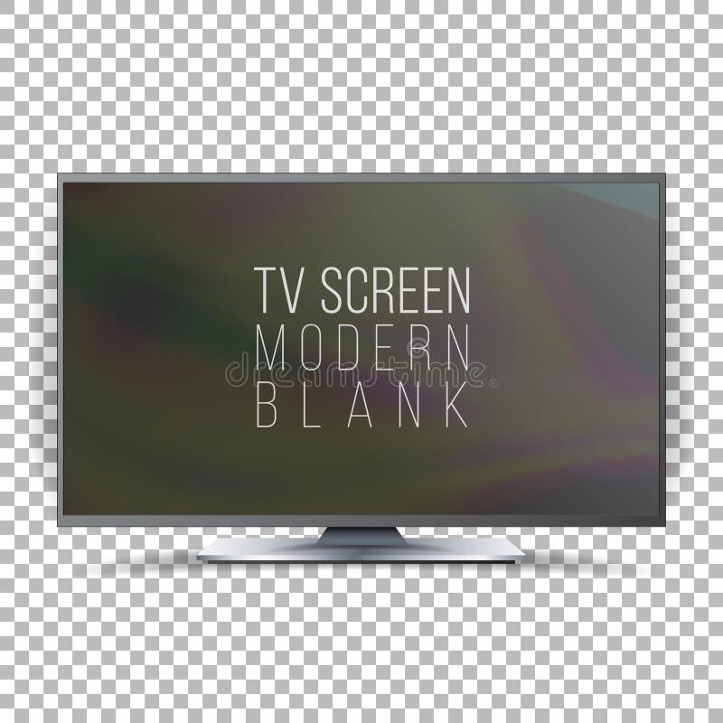 Vetor do plasma do Lcd da tela Tevê lisa realística de Smart Placa moderna curvada da televisão no fundo quadriculado ilustração stock