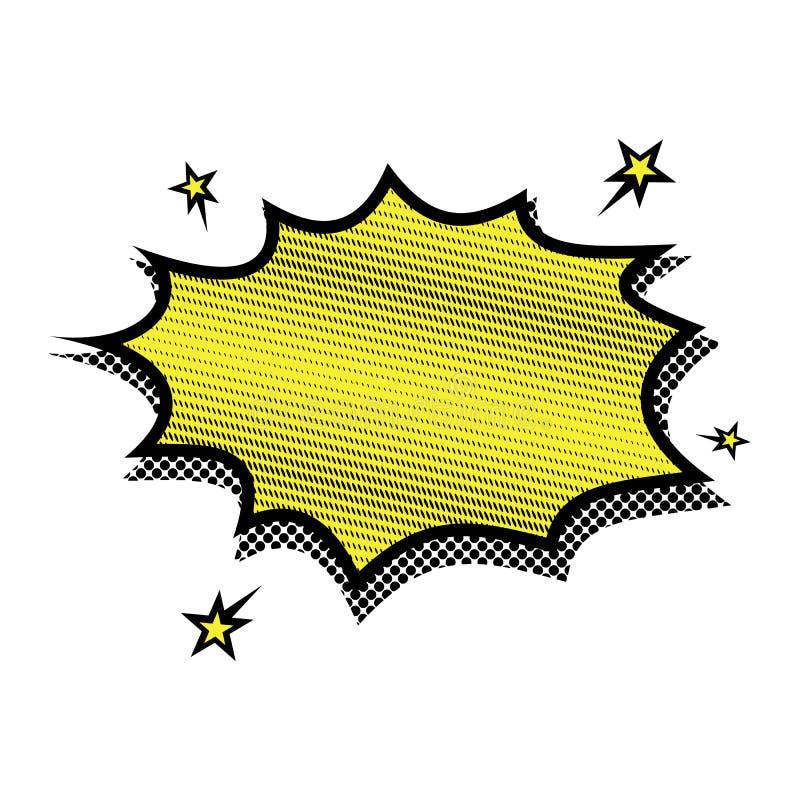 Vetor do pop art da bolha do vapor da explosão - fundo funky engraçado da banda desenhada da bandeira isto igualmente representa  ilustração royalty free