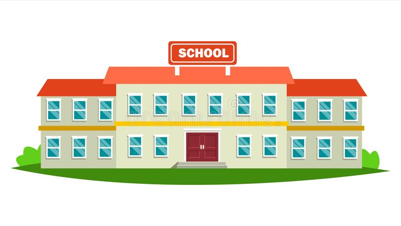 Vetor do prédio da escola Construção moderna da cidade da educação Sinal urbano Jarda da fonte Ilustração lisa isolada dos desenh ilustração do vetor