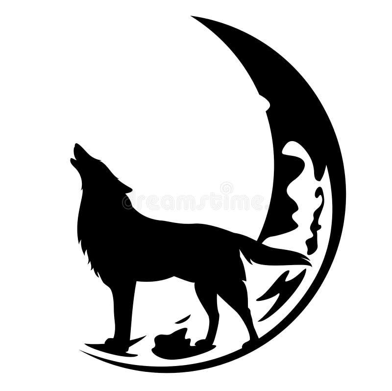 Vetor do preto do lobo do urro e da lua do crescente ilustração stock