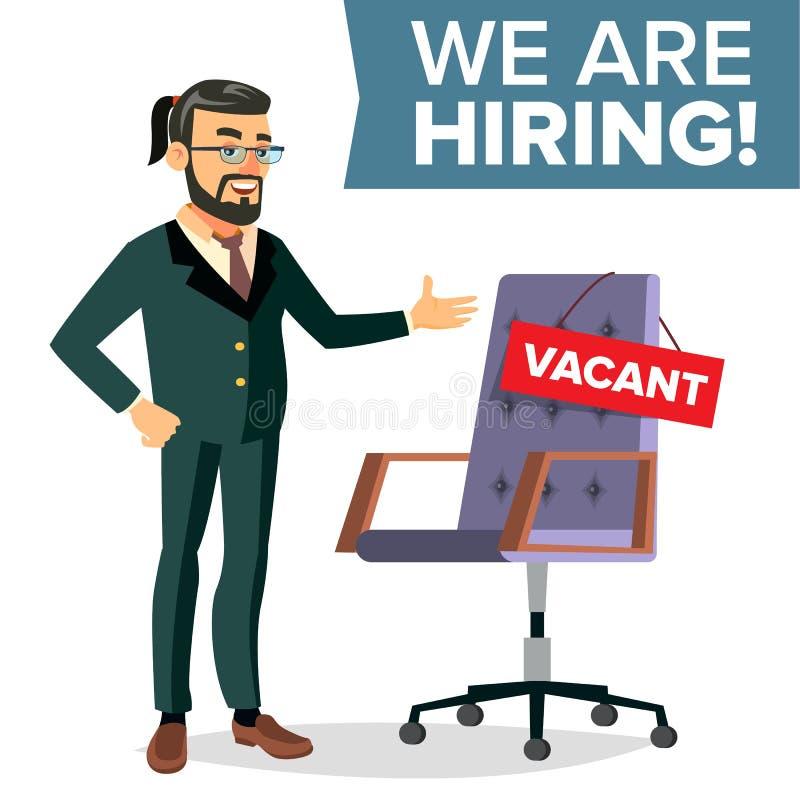 Vetor do processo do recrutamento Recursos humanos, carreira Homem de negócios Choice Of Employee Cadeira do escritório, local de ilustração stock