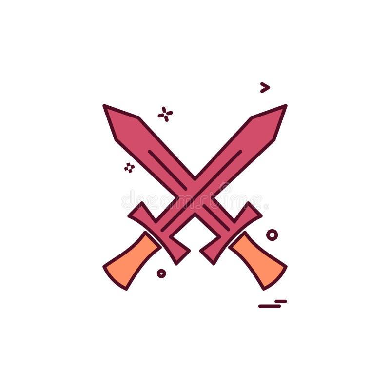 Vetor do projeto do ícone das espadas ilustração stock