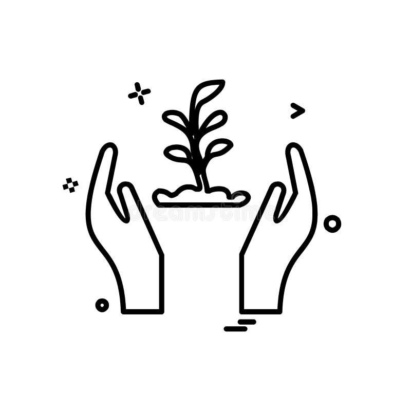 Vetor do projeto do ícone das mãos do cofre forte ilustração royalty free