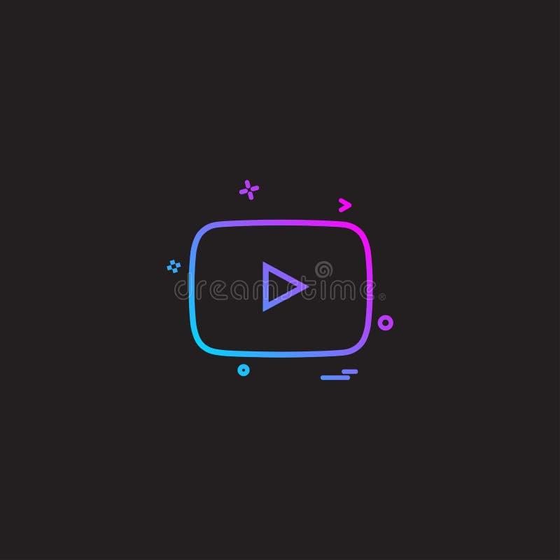 Vetor do projeto do ícone de Youtube ilustração royalty free