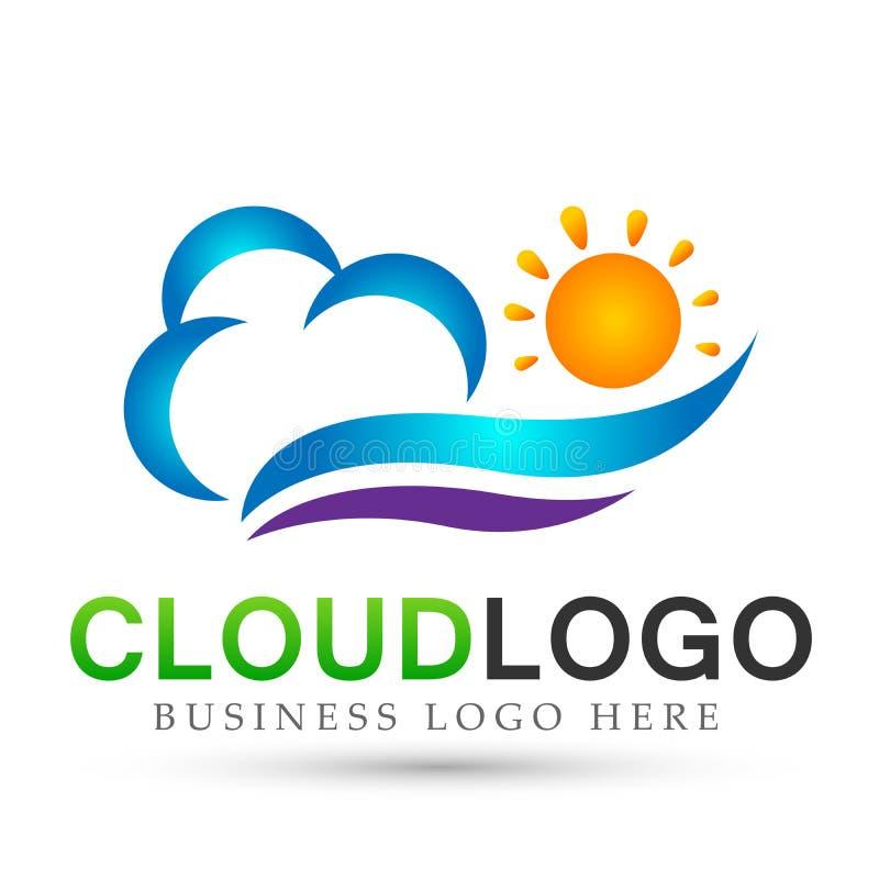 Vetor do projeto do ícone do elemento do vetor do logotipo da onda de água da nuvem do mar de Sun no fundo branco ilustração royalty free