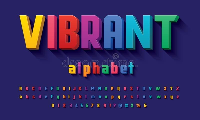Vetor do projeto corajoso moderno do alfabeto 3D ilustração royalty free