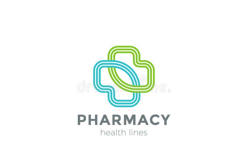Vetor do projeto da cruz do logotipo da farmácia linear clínica ilustração royalty free