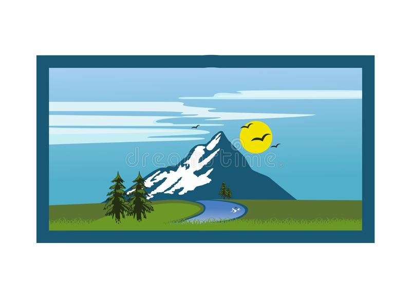 Vetor do projeto da paisagem da montanha ilustração do vetor