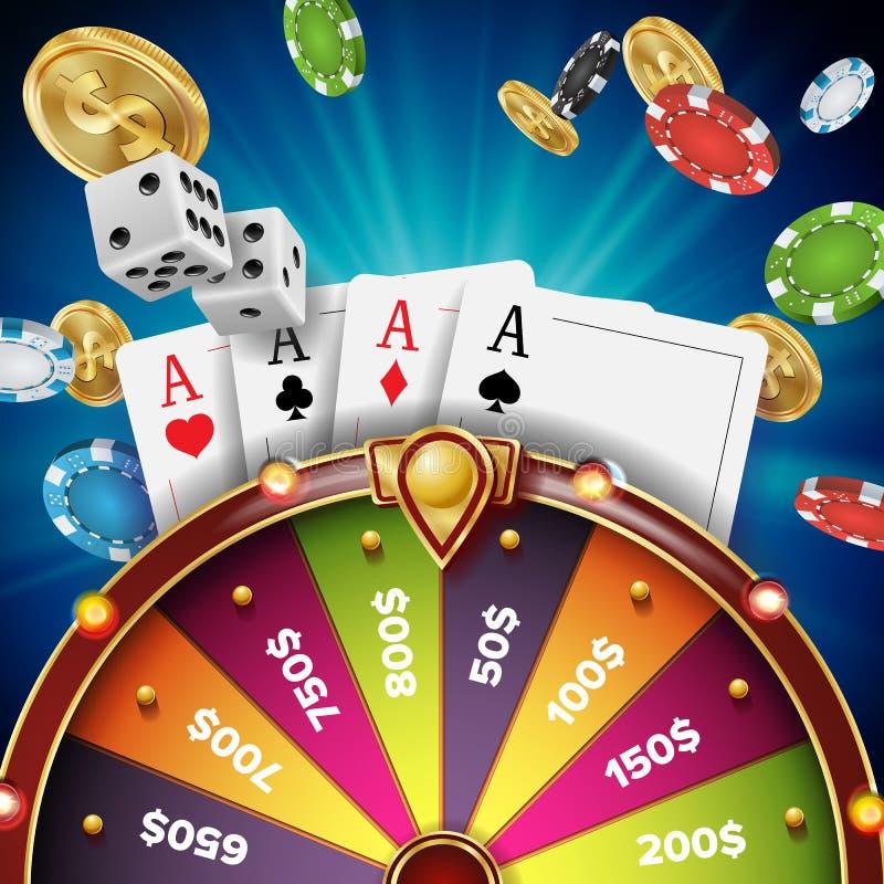 Vetor do projeto da roda da fortuna Objeto 3d realístico Fundo do jackpot do vencedor Ilustração de incandescência do lazer ilustração royalty free