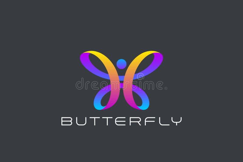 Vetor do projeto de Logo Ribbon Loop da borboleta beleza f ilustração do vetor