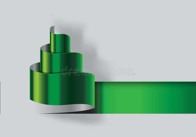 Vetor do projeto do corte do papel verde de árvore de Natal ilustração do vetor