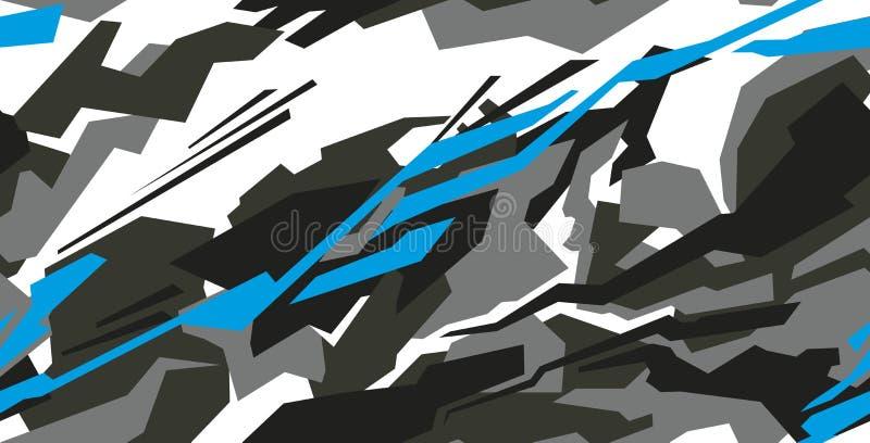 Vetor do projeto do envoltório do decalque do carro Projetos de competência do jogo do fundo da listra abstrata gráfica para o ve ilustração stock
