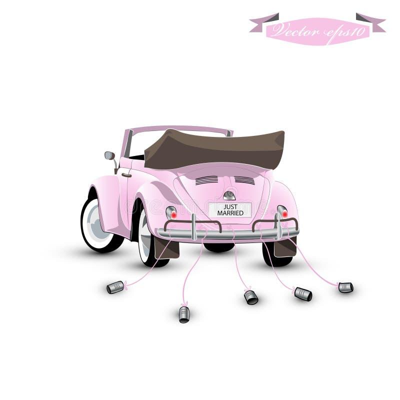 Vetor do projeto gráfico apenas do carro casado do vintage com latas imagem de stock royalty free