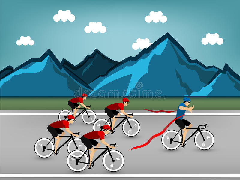 Vetor do projeto gráfico da raça de ciclismo do atleta na estrada na montanha foto de stock