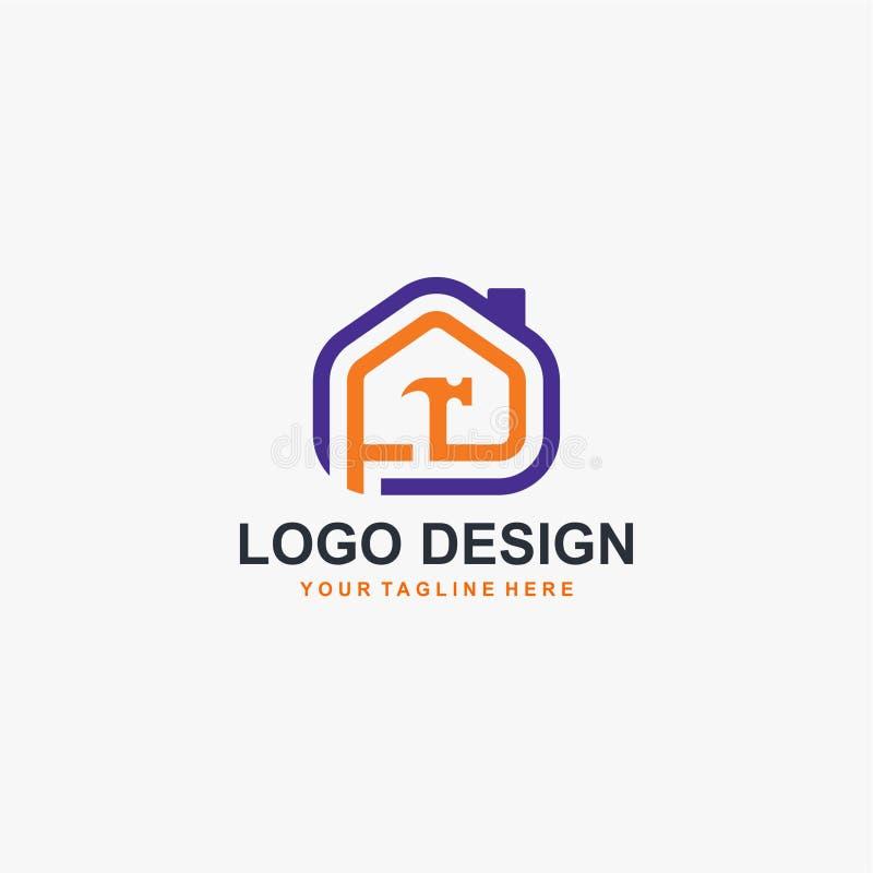 Vetor do projeto do logotipo do construtor de casas fotos de stock