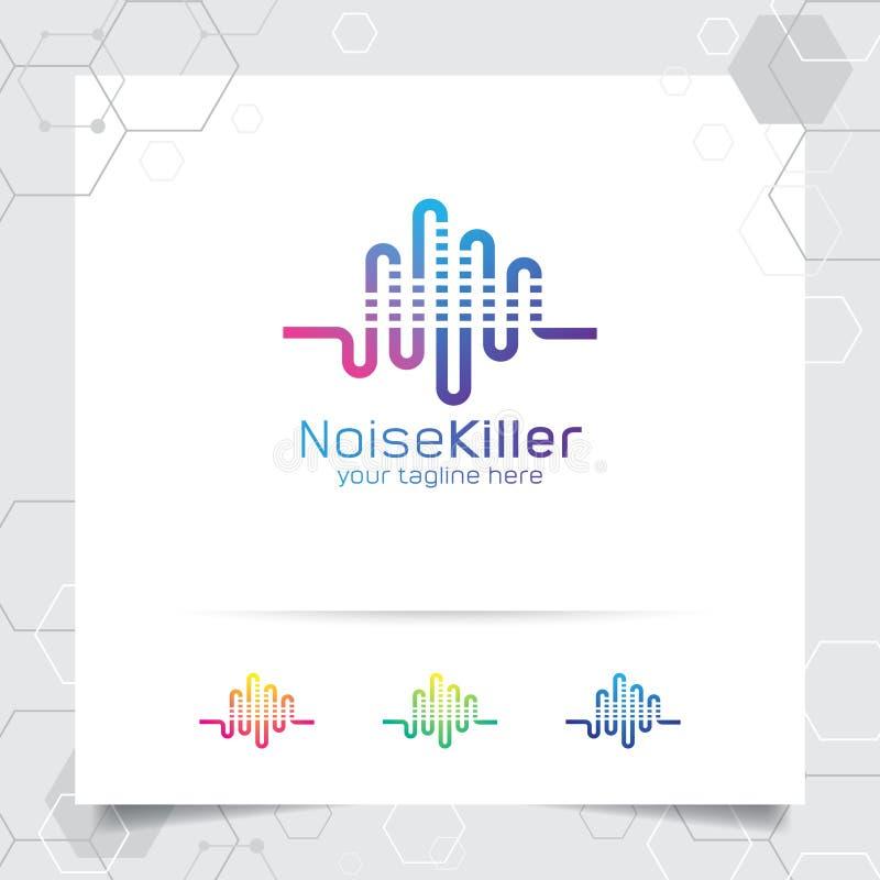 Vetor do projeto do logotipo da música com conceito do ícone da onda sadia e do equalizador para a gravação, o músico, o app, e a ilustração do vetor