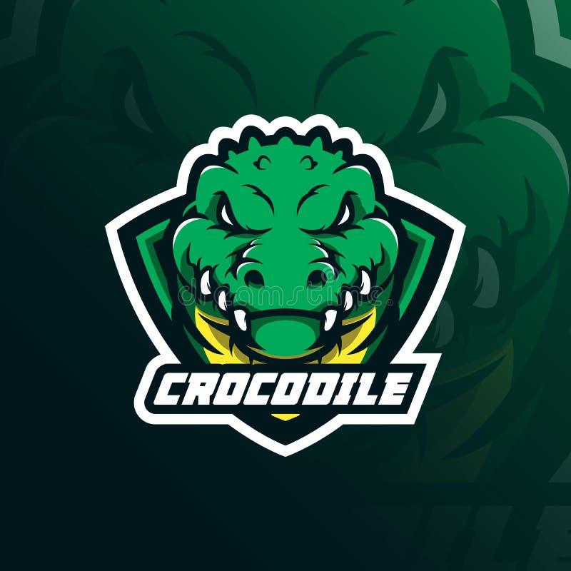 Vetor do projeto do logotipo da mascote do crocodilo com estilo moderno do conceito da ilustração para o crachá, o emblema e a im ilustração do vetor