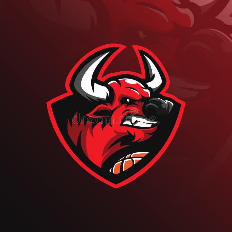 Vetor do projeto do logotipo da mascote de Bull com estilo moderno do conceito da ilustração para a impressão do crachá, do emble ilustração do vetor