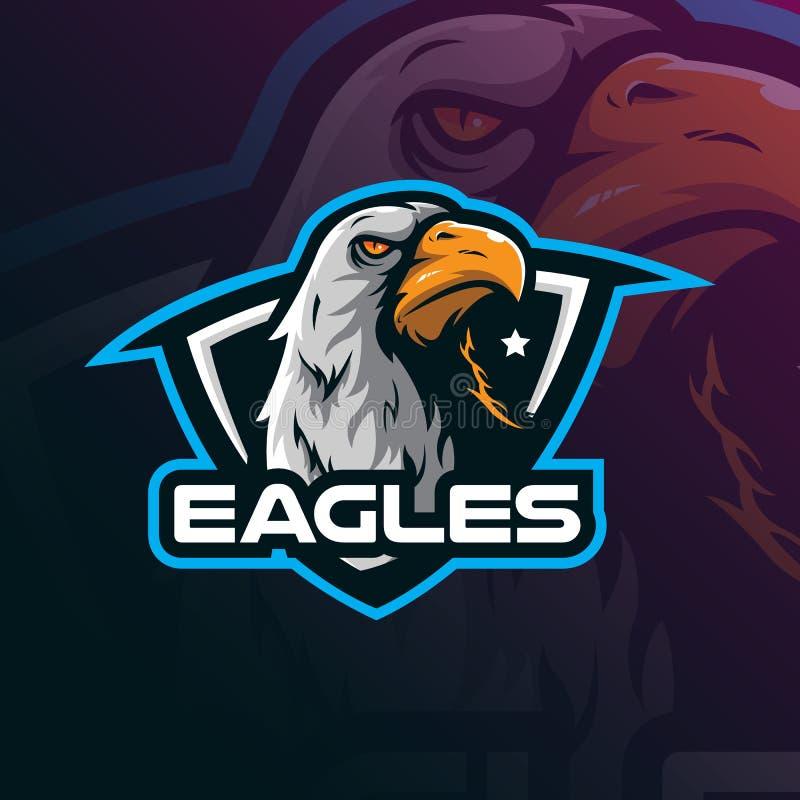Vetor do projeto do logotipo da mascote de Eagle com estilo moderno do conceito da ilustração para a impressão do crachá, do embl ilustração do vetor