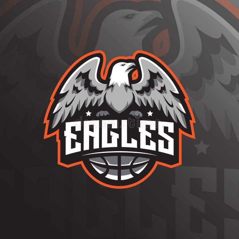 Vetor do projeto do logotipo da mascote de Eagle com estilo moderno do conceito da ilustra??o para a impress?o do crach?, do embl ilustração stock