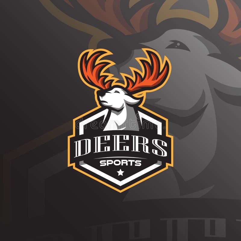 Vetor do projeto do logotipo da mascote dos cervos com estilo moderno do conceito da ilustração para a impressão do crachá, do em ilustração do vetor