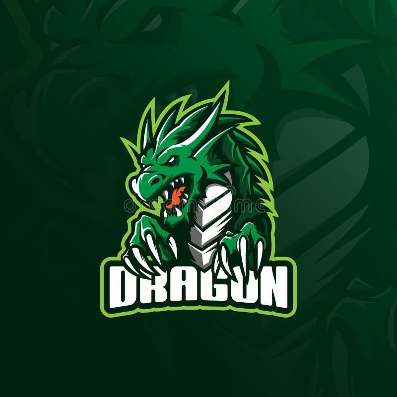 Vetor do projeto do logotipo da mascote do dragão com estilo moderno do conceito da ilustração para a impressão do crachá, do emb ilustração do vetor
