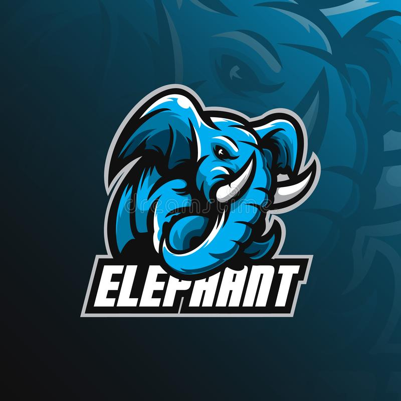 Vetor do projeto do logotipo da mascote do elefante com estilo moderno do conceito da ilustração para a impressão do crachá, do e ilustração royalty free