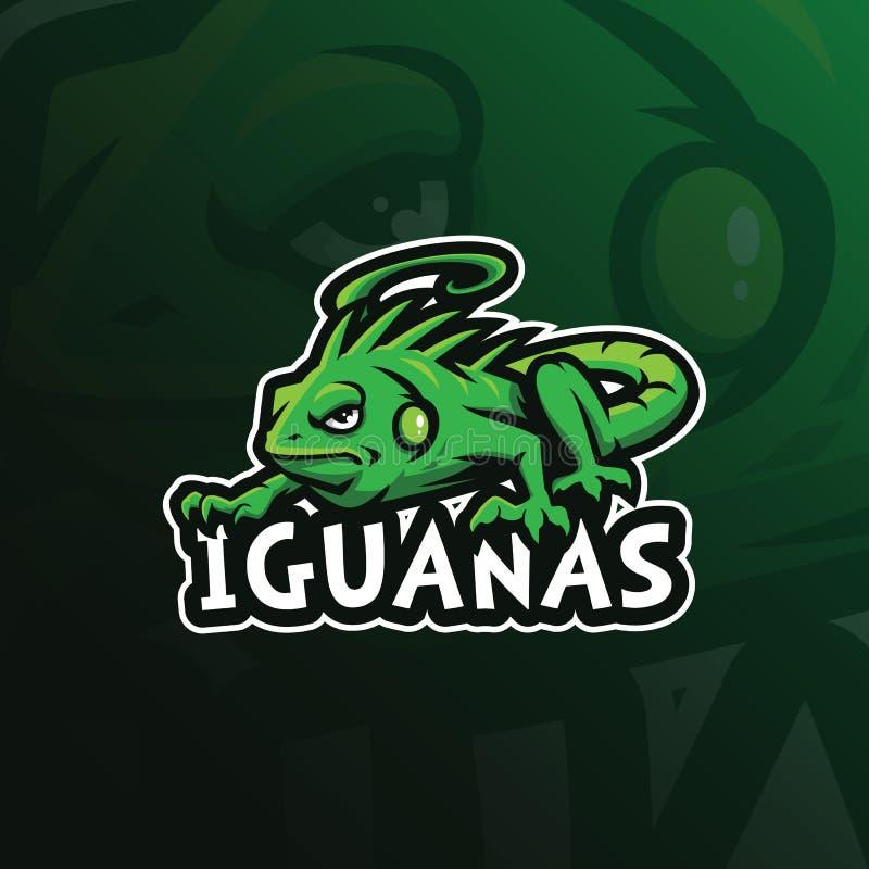 Vetor do projeto do logotipo da mascote da iguana com estilo moderno do conceito da ilustra??o para a impress?o do crach?, do emb ilustração royalty free