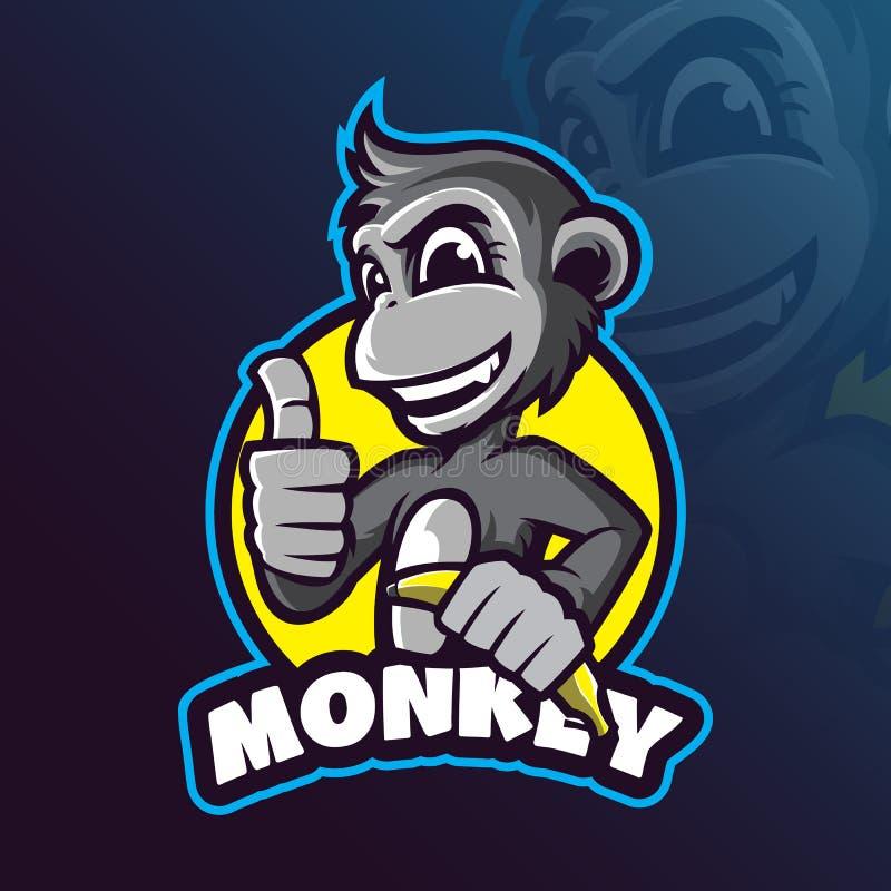 Vetor do projeto do logotipo da mascote do macaco com estilo moderno do conceito da ilustração para a impressão do crachá, do emb ilustração do vetor