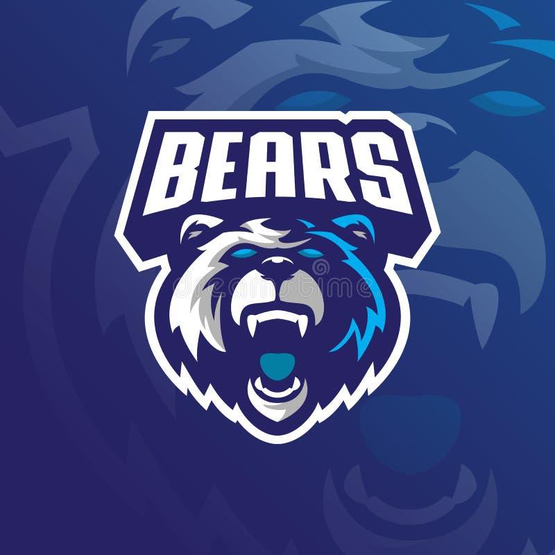Vetor do projeto do logotipo da mascote do urso com estilo moderno do conceito da ilustra??o para a impress?o do crach?, do emble ilustração do vetor