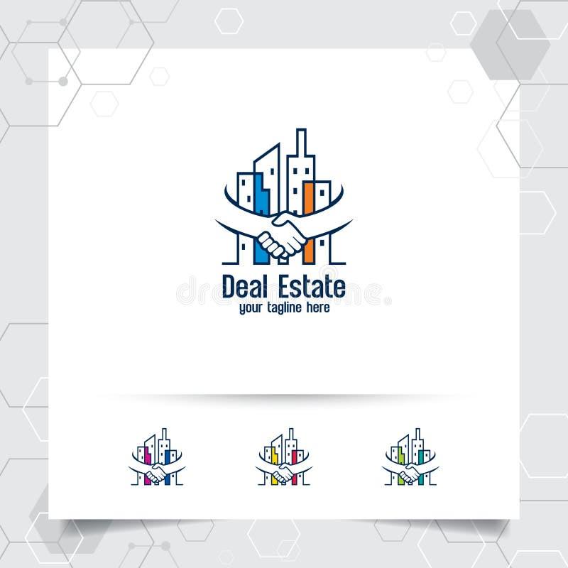 Vetor do projeto do logotipo da propriedade com conceito da agitação do negócio e da mão Vetor do logotipo dos bens imobiliários  ilustração royalty free
