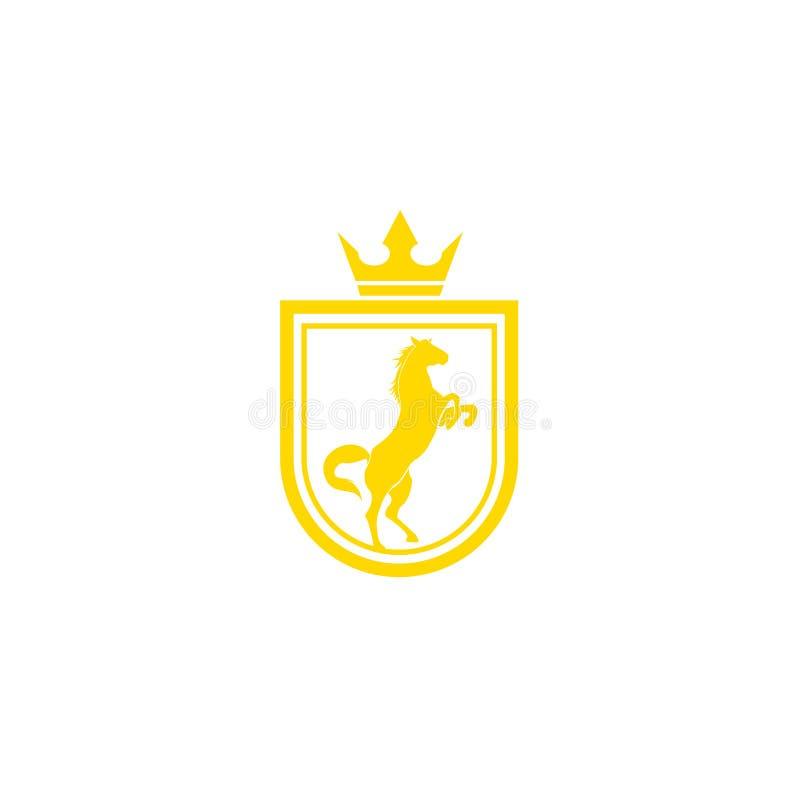 Vetor do projeto do logotipo do tipo do cavalo Crista dourada retro com protetor e cavalos Molde heráldico do logotipo Conceito d ilustração royalty free