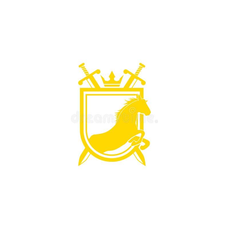 Vetor do projeto do logotipo do tipo do cavalo Crista dourada retro com protetor e cavalos Molde heráldico do logotipo Conceito d ilustração stock