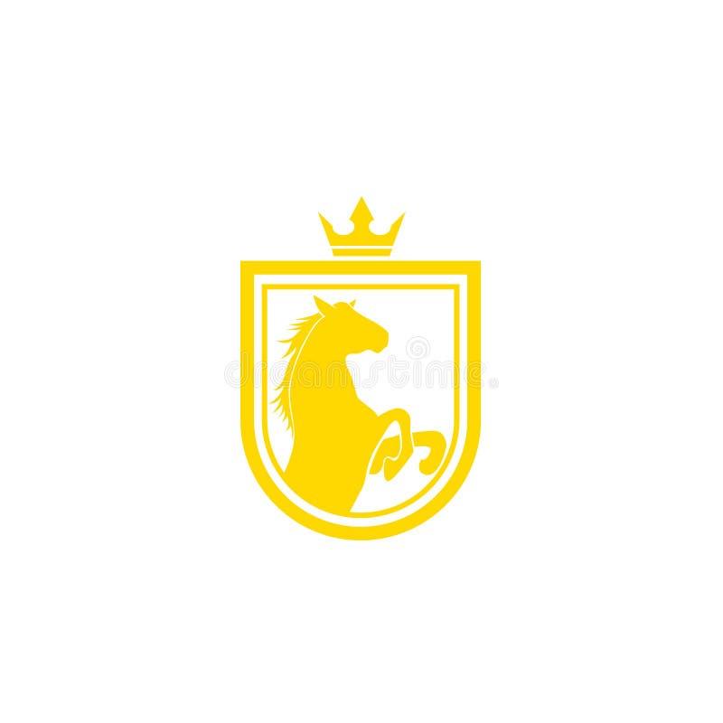 Vetor do projeto do logotipo do tipo do cavalo Crista dourada retro com protetor e cavalos Molde heráldico do logotipo Conceito d ilustração do vetor