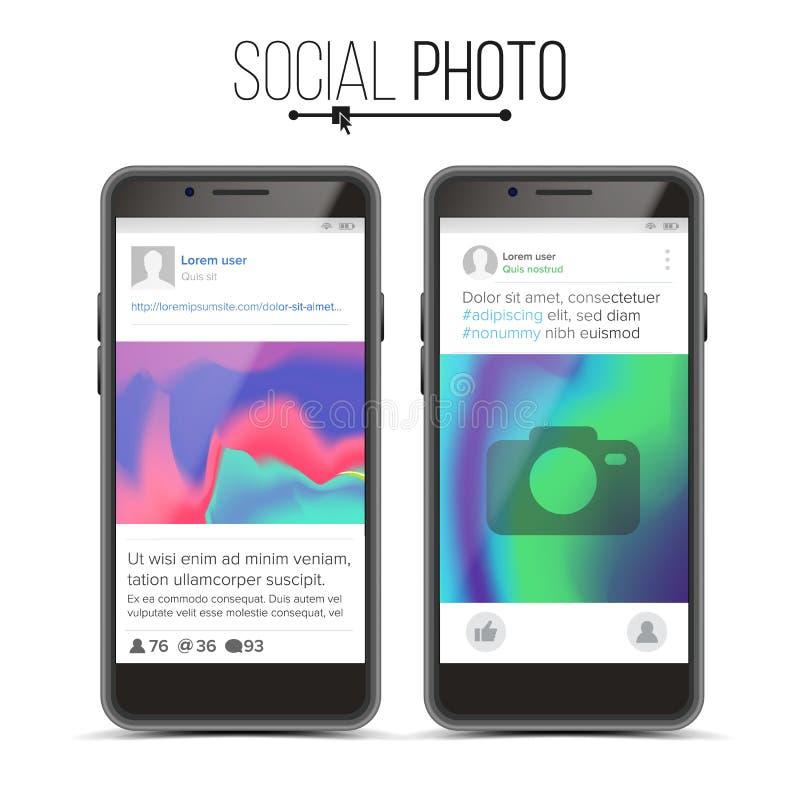 Vetor do quadro da foto Quadro social da foto da rede no telefone esperto Ilustração realística ilustração royalty free