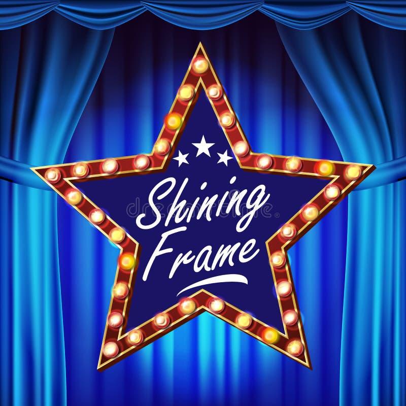 Vetor do quadro de avisos da estrela Placa clara de brilho do sinal cortina do teatro do lue Quadro realístico da lâmpada do bril ilustração royalty free