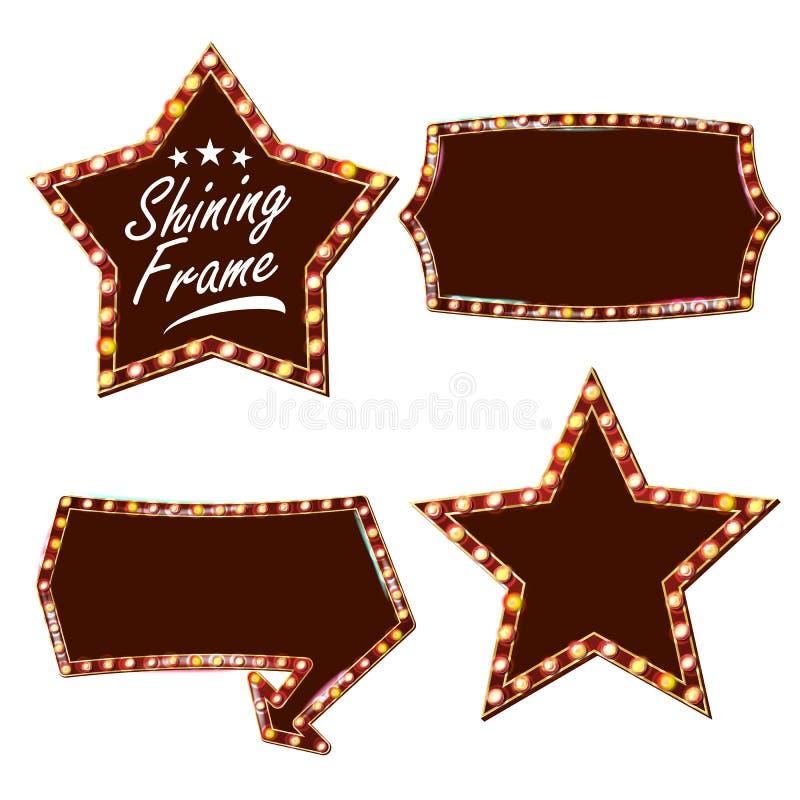 Vetor do quadro de avisos da estrela Placa clara de brilho do sinal Quadro realístico da lâmpada do brilho Carnaval, circo, estil ilustração stock