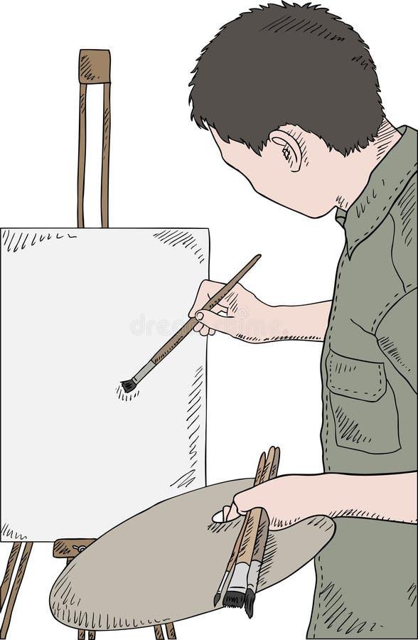 Vetor do retrato da pintura do homem ilustração stock