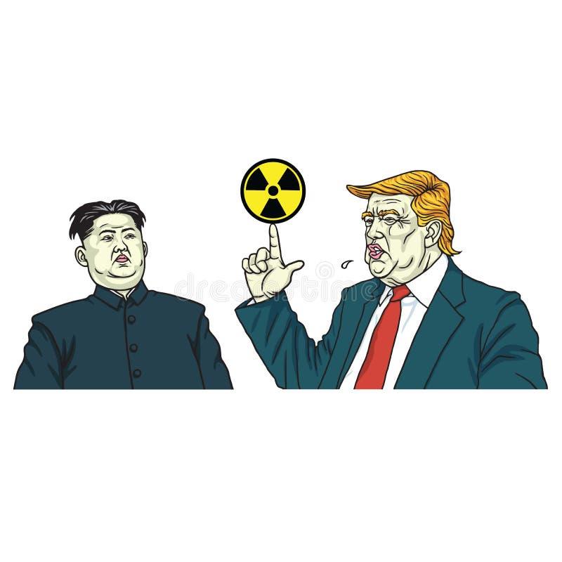 Vetor do retrato do Jong-un de Donald Trump e de Kim com sinal nuclear 3 de julho de 2017 ilustração stock