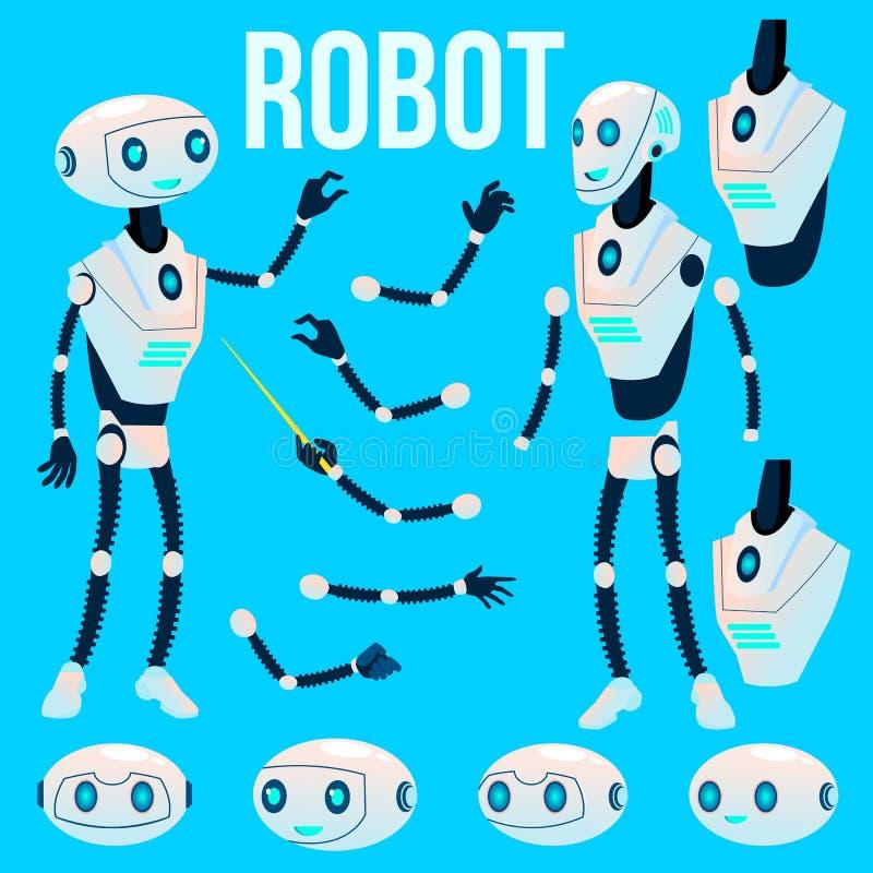 Vetor do robô Grupo da criação da animação Ajudante futurista do robô da tecnologia do mecanismo Inteligência artificial animado ilustração royalty free