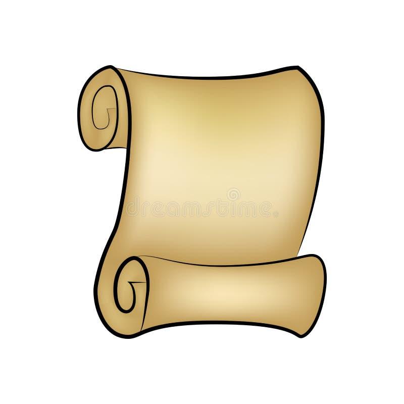 Vetor do rolo do papel vazio do vintage isolado no fundo branco O pergaminho vazio rolou acima do rolo, textura de papel velha da ilustração stock
