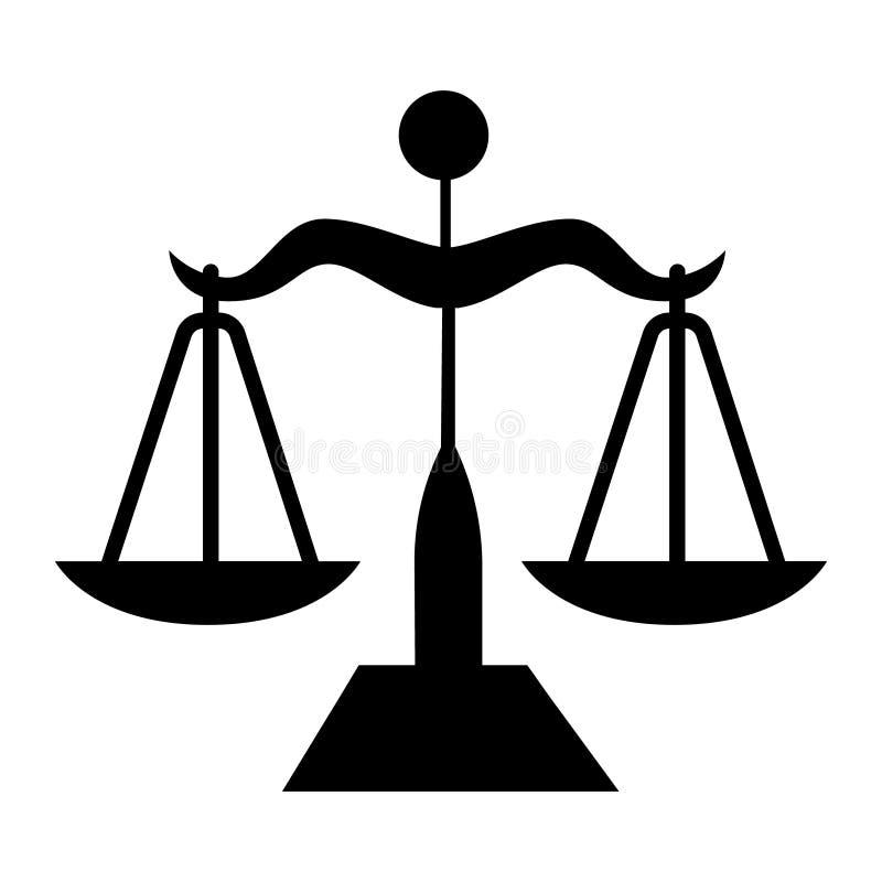 Vetor do símbolo do ícone de justiça das escalas símbolo para o computador do site e o vetor móvel ilustração stock