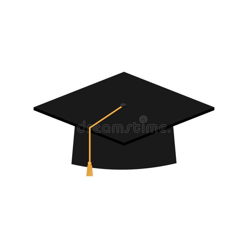 Vetor do símbolo do ícone do tampão da graduação em desenhos animados lisos do estilo ilustração do vetor