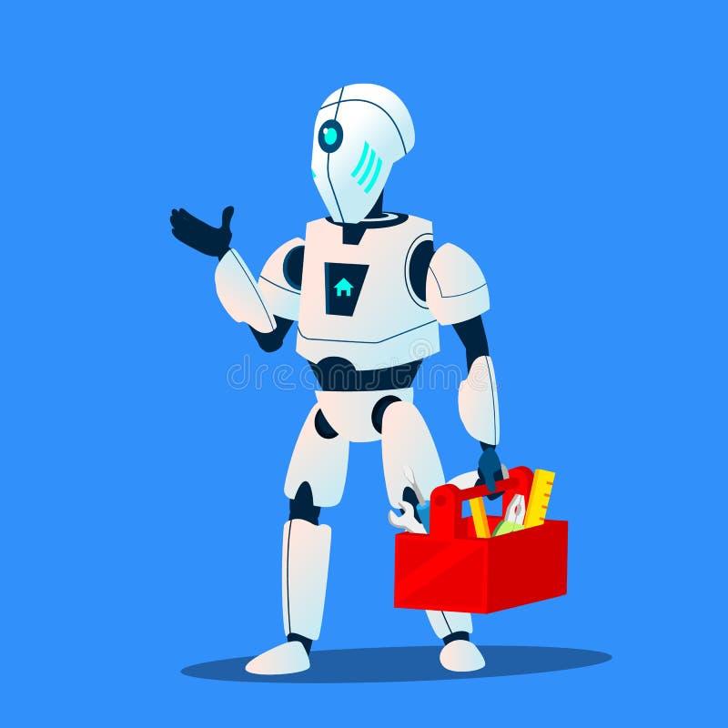 Vetor do serviço do mestre do homem do reparo do robô Ilustração isolada ilustração do vetor