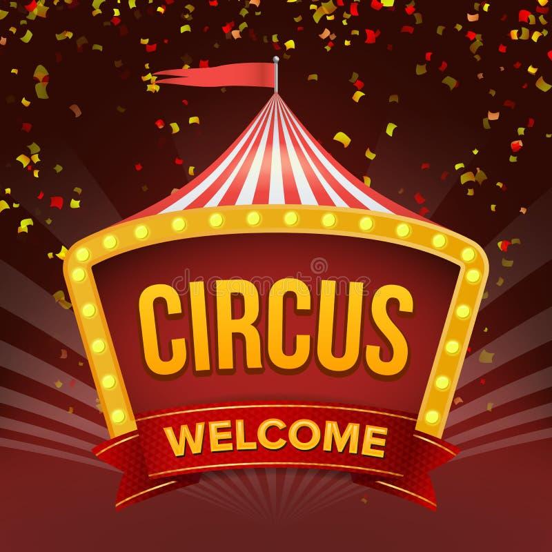 Vetor do sinal do circo Evento retro do convite Ilustração lisa ilustração do vetor